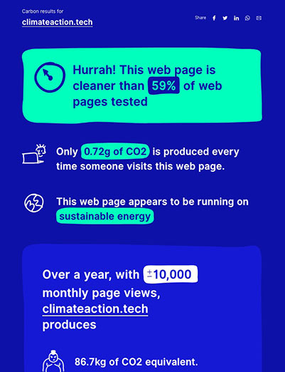"Our baseline measurement from the Website Carbon Calculator. It says ""Hurrah! This web page is cleaner than 59% of web pages tested"". Only 0.72g of CO2 is produced every time someone visits this web page. This web page appears to be running on sustainable energy."""